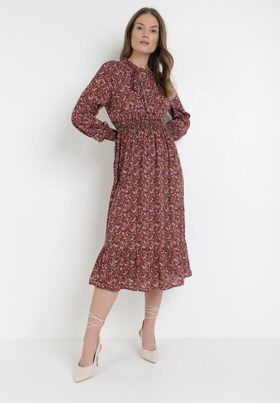 Bordowa Sukienka Lametai