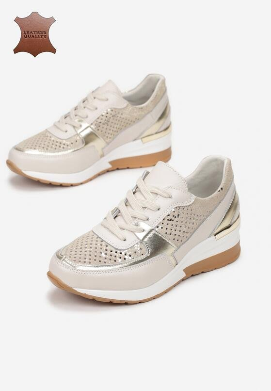 Beżowe Skórzane Sneakersy Amiphiophai
