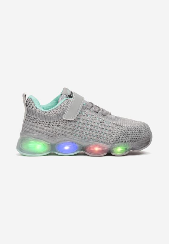 Szaro-Miętowe Buty Sportowe LED Alethris