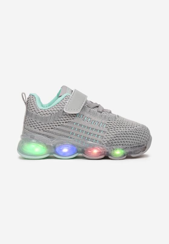 Szaro-Miętowe Buty Sportowe LED Thosyse