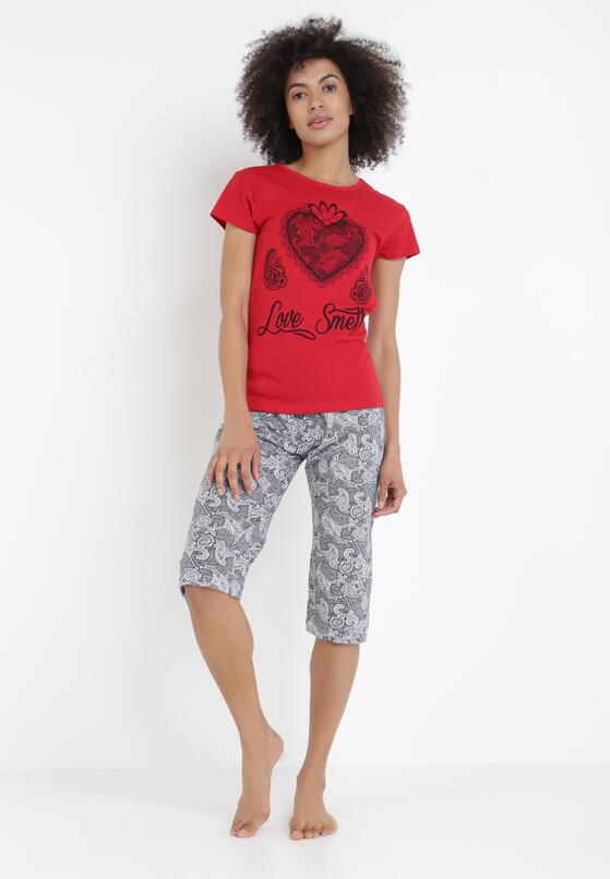 Czerwony 2-Częściowy Komplet Piżamowy Siliax