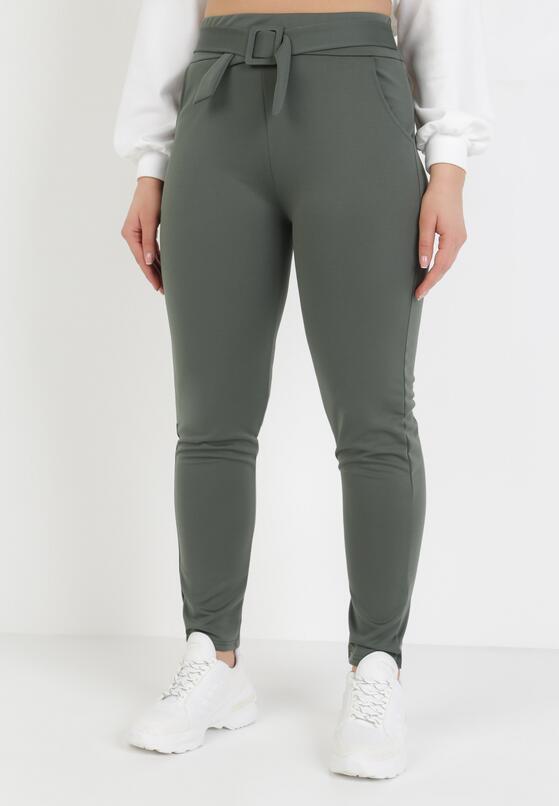Ciemnozielone Spodnie Slim Mayaroe