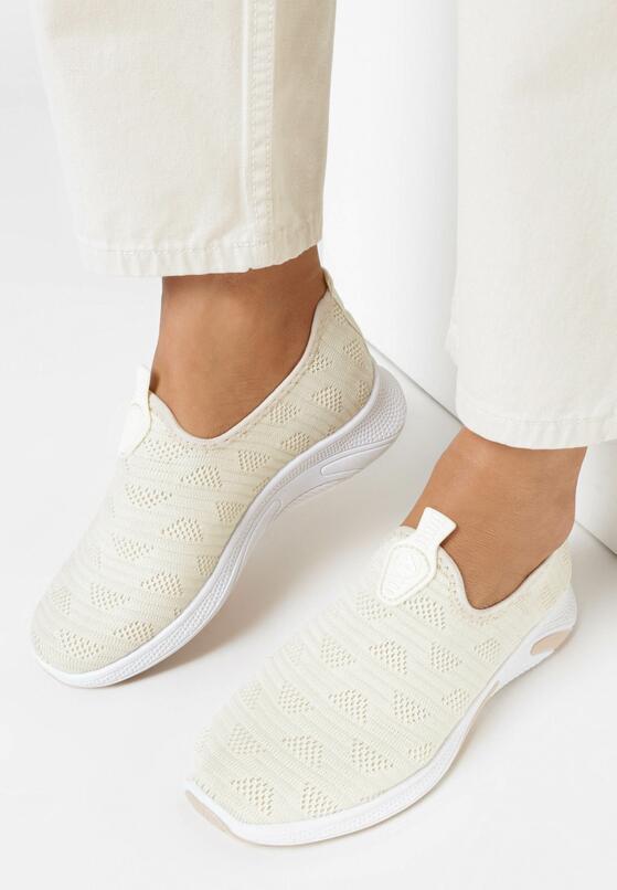 Beżowe Buty Sportowe Metionome