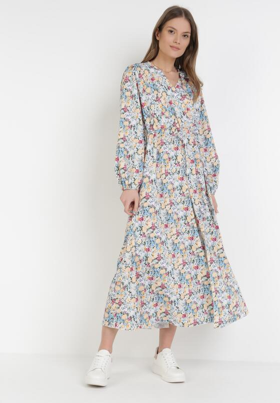 Biało-Niebieska Sukienka Peshyphise