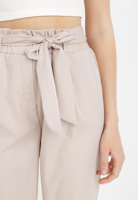 Beżowe Spodnie Paper Bag Psalohsa