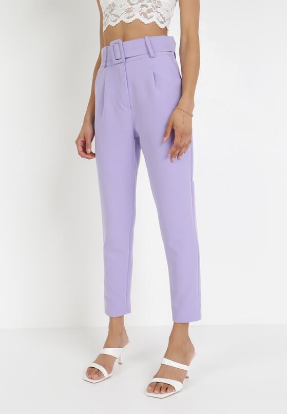 Liliowe Spodnie Cygaretki Selestiphelia
