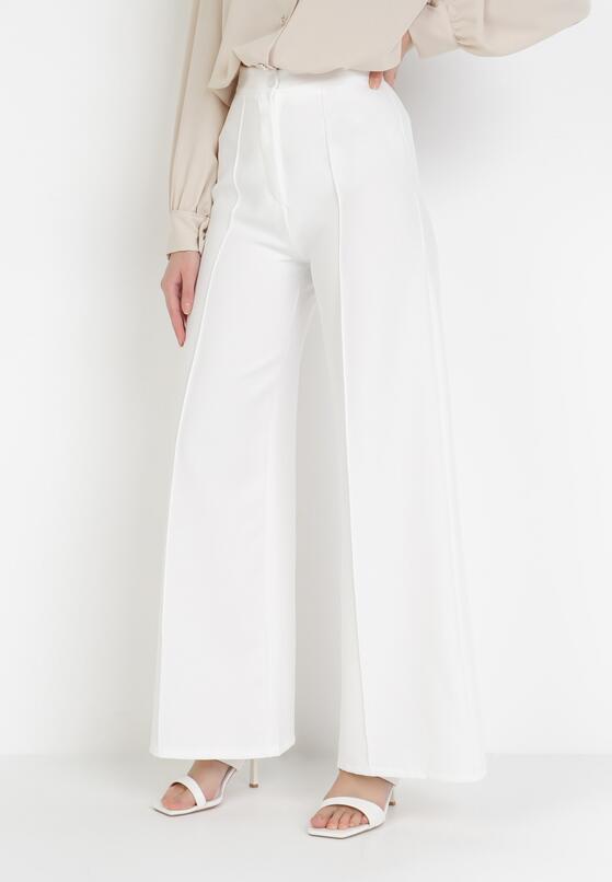 Białe Spodnie Szerokie Aelalise