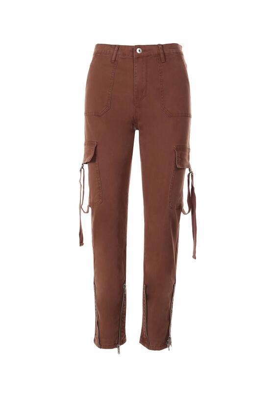 Brązowe Spodnie Bojówki Theananise