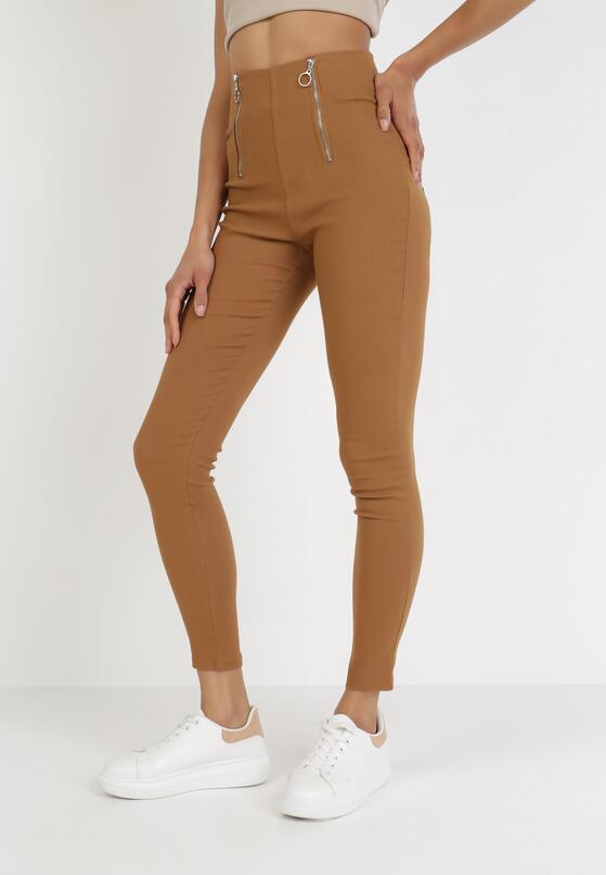 Camelowe Spodnie Skinny Kelnessa
