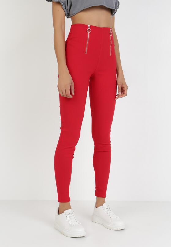 Czerwone Spodnie Skinny Kelnessa