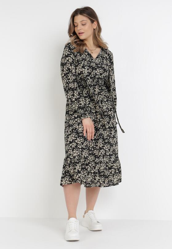 Czarno-Beżowa Sukienka Lametai
