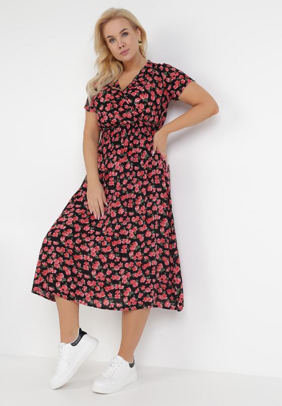 Czarno-Czerwona Sukienka Elrinlia