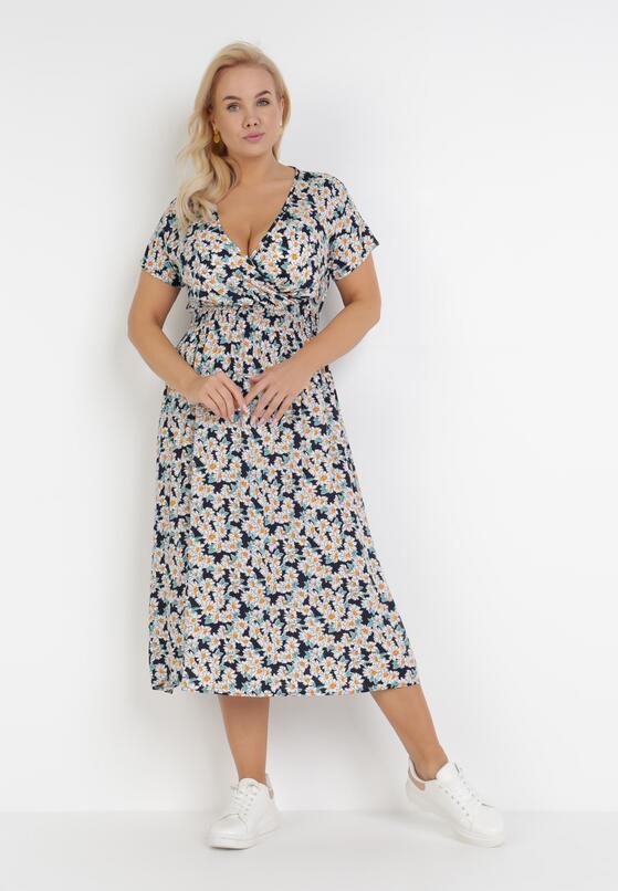 Granatowo-Biała Sukienka Fyrney