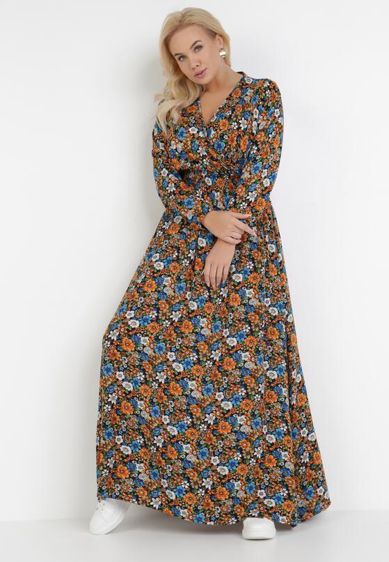 Granatowo-Pomarańczowa Sukienka Phaliliana