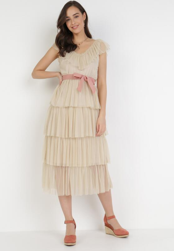 Beżowa Sukienka Hicine