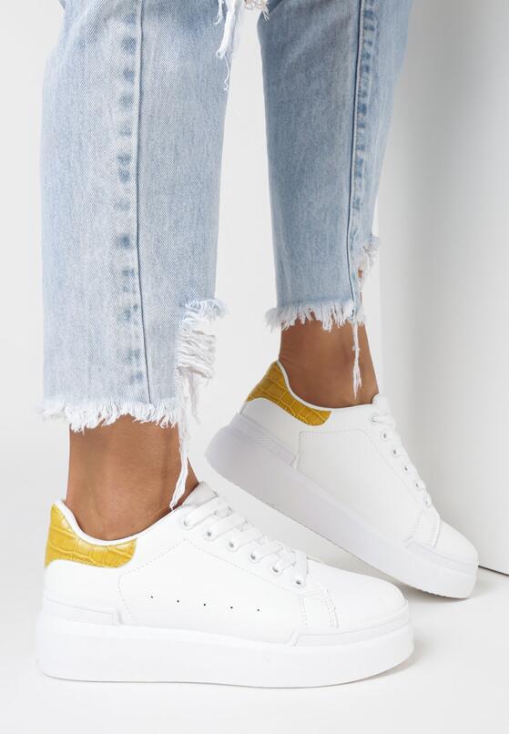 Biało-Żółte Sneakersy Buthophor