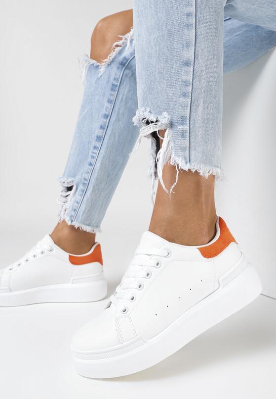 Biało-Pomarańczowe Sneakersy Ashiphise