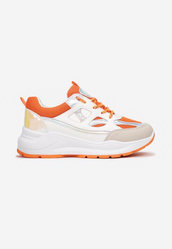 Biało-Pomarańczowe Sneakersy Xenielle