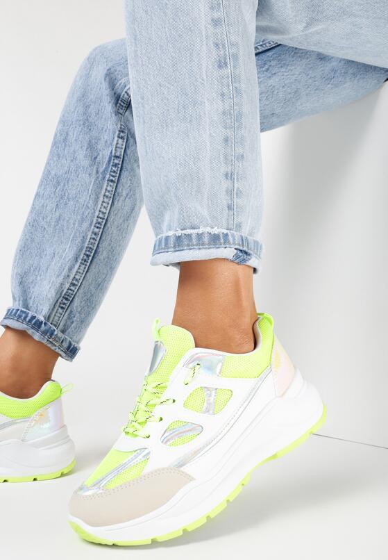 Biało-Limonkowe Sneakersy Xenielle