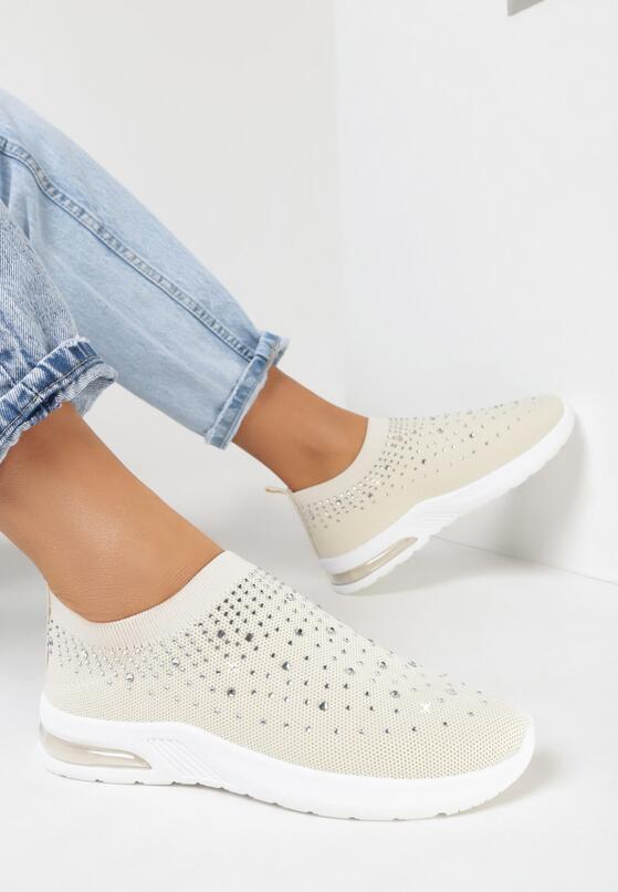 Beżowe Buty Sportowe Leucaphaura