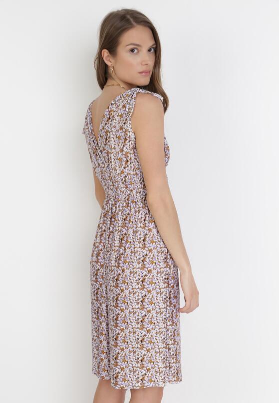 Ciemnobeżowo-Fioletowa Sukienka Alethosise