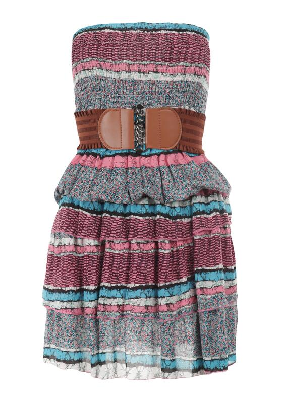 Różowo-Niebieska Sukienka Z Paskiem Vividine