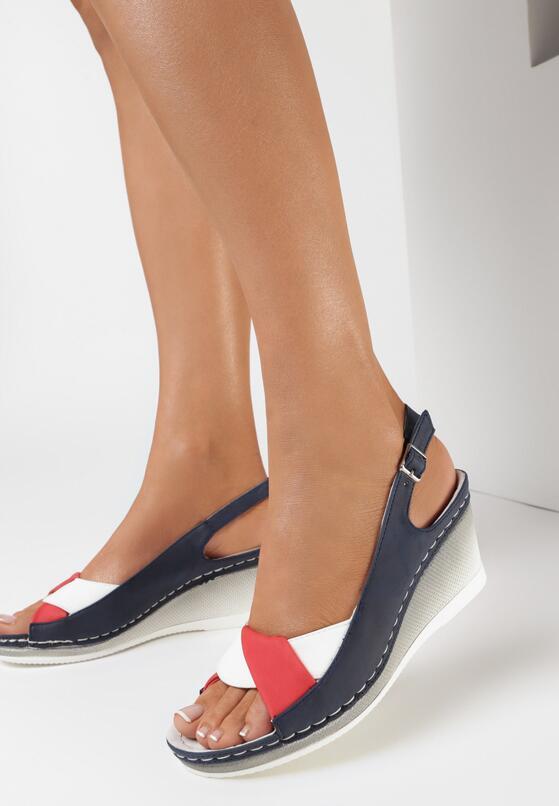 Granatowo-Czerwone Sandały Typhoph