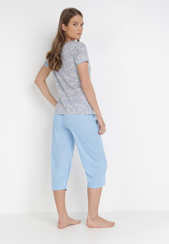 Szaro-Niebieski 2-Częściowy Komplet Piżamowy Mayanah