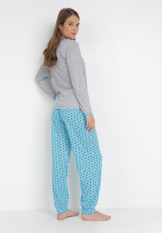 Szaro-Niebieski 2-Częściowy Komplet Piżamowy Meria