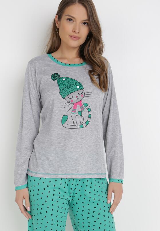 Szaro-Zielony 2-Częściowy Komplet Piżamowy Meria