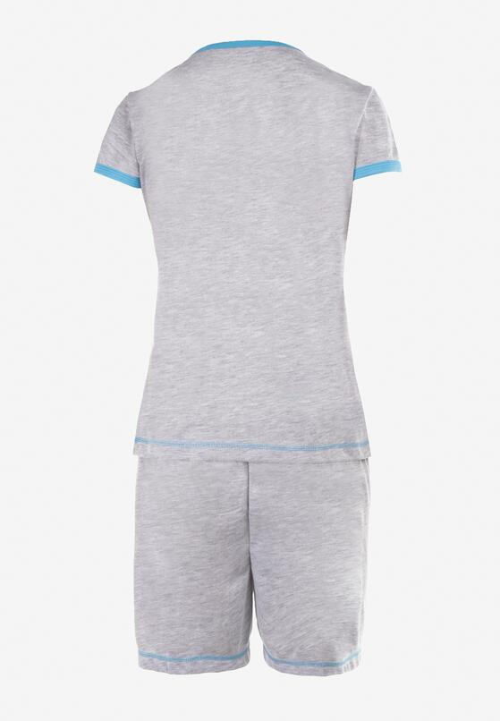 Szaro-Niebieski 2-Częściowy Komplet Piżamowy Zasdo
