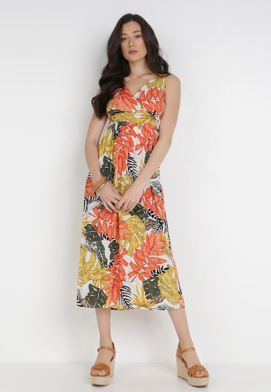 Biało-Pomarańczowa Sukienka Azahn