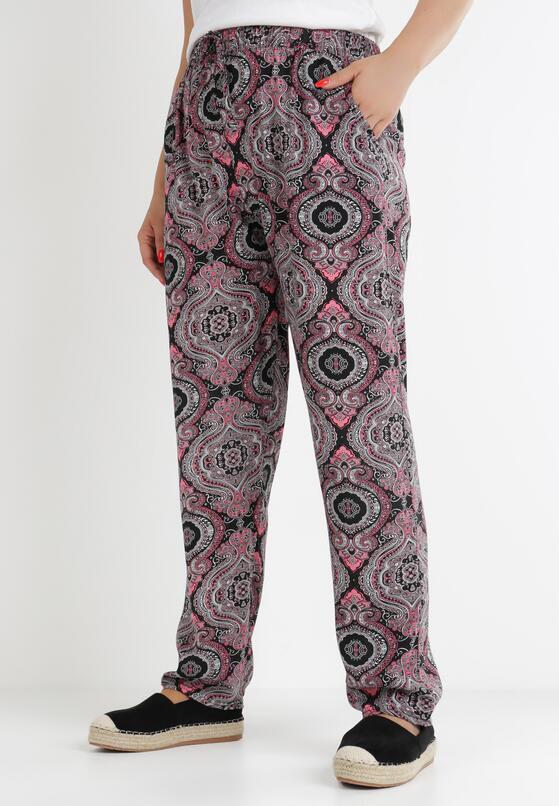 Czarno-Różowe Spodnie Szerokie Haithylia