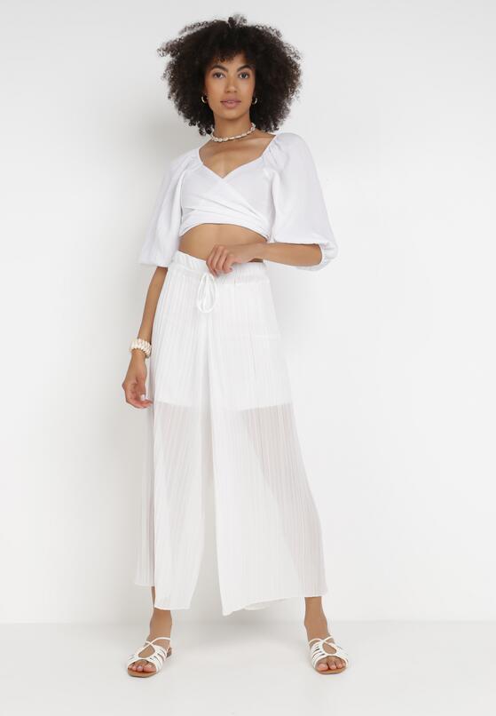 Białe Szerokie Spodnie Aethemei