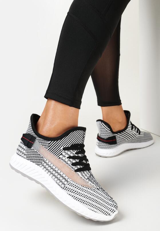 Czarno-Białe Buty Sportowe Parrelia
