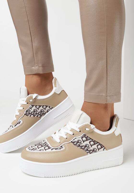 Ciemnobeżowe Sneakersy Callinos
