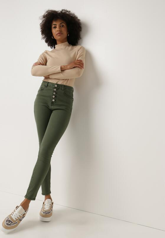 Ciemnozielone Spodnie Skinny Fuandoc