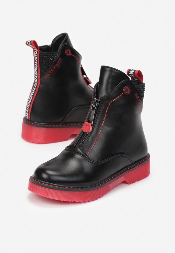 Czarno-Czerwone Botki Mendeis