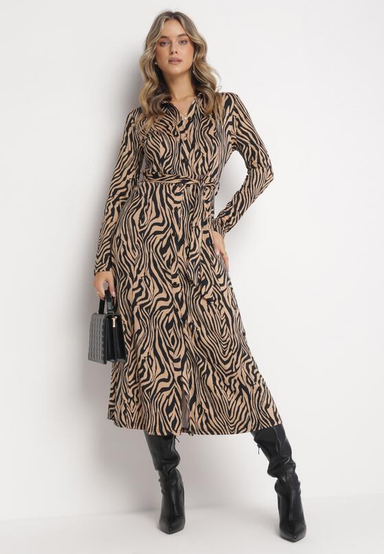 Beżowo-Czarna Sukienka Anastyle