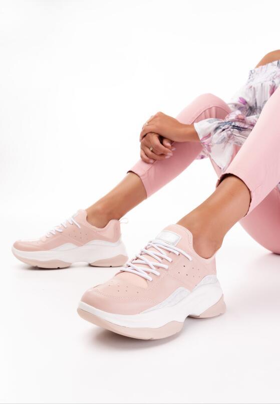 Beżowo-Różowe Buty Sportowe Hyrena