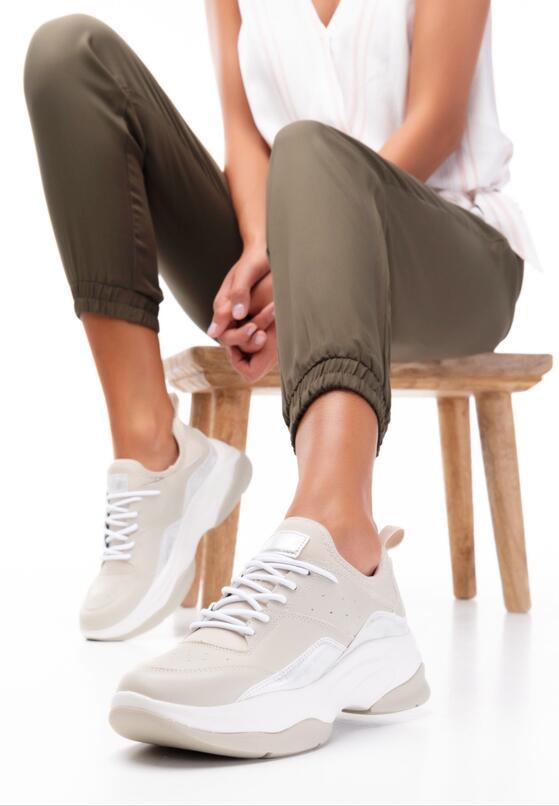 Beżowe Buty Sportowe Hyrena