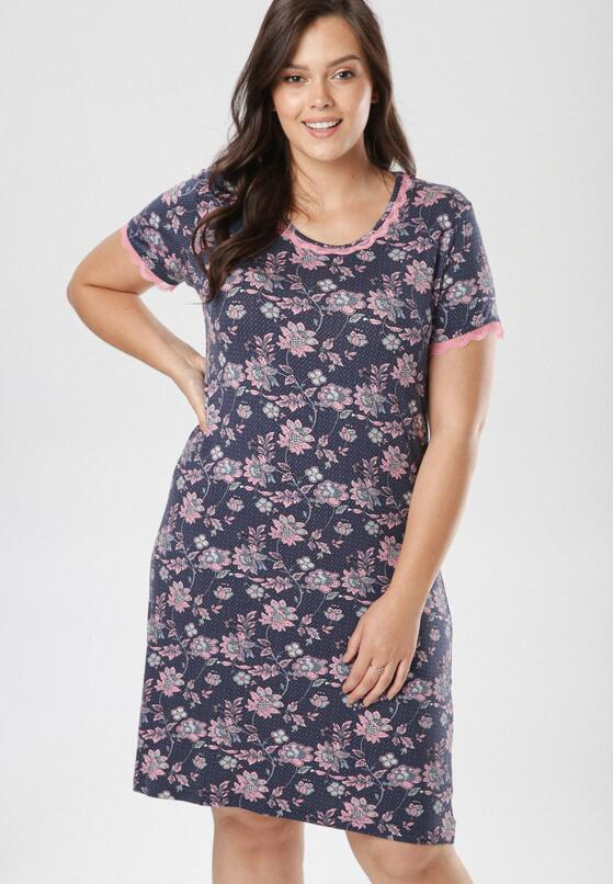 Granatowo-Różowa Koszula Nocna Doreama