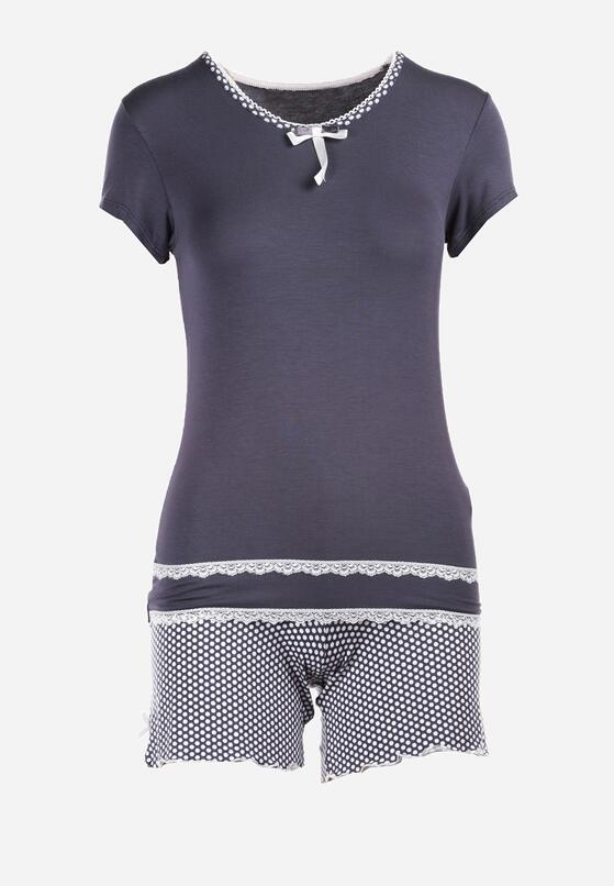 Szaro-Beżowy Komplet Piżamowy Elusis