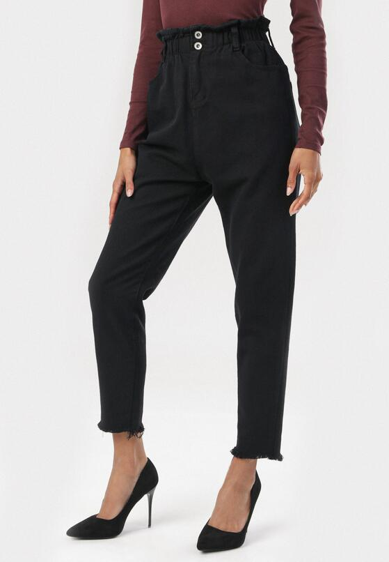 Czarne Spodnie Paper Bag Periris