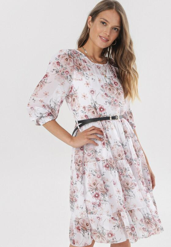 Biało-Różowa Sukienka Perithe