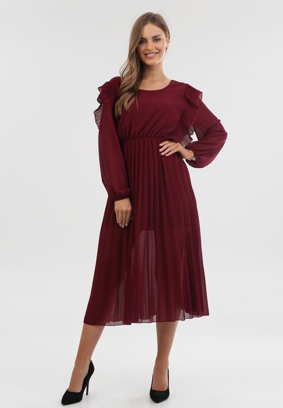 Bordowa Sukienka Jaenlenne