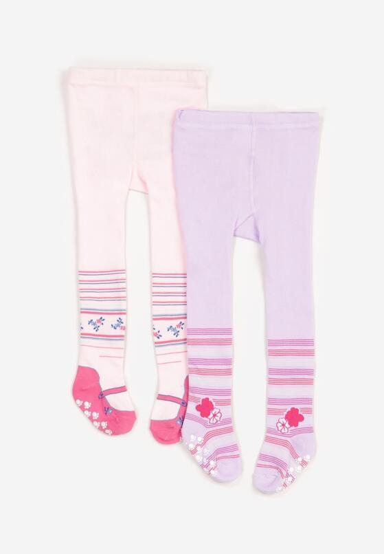 2-Pack Różowo-Niebieskie Rajstopy Delolure