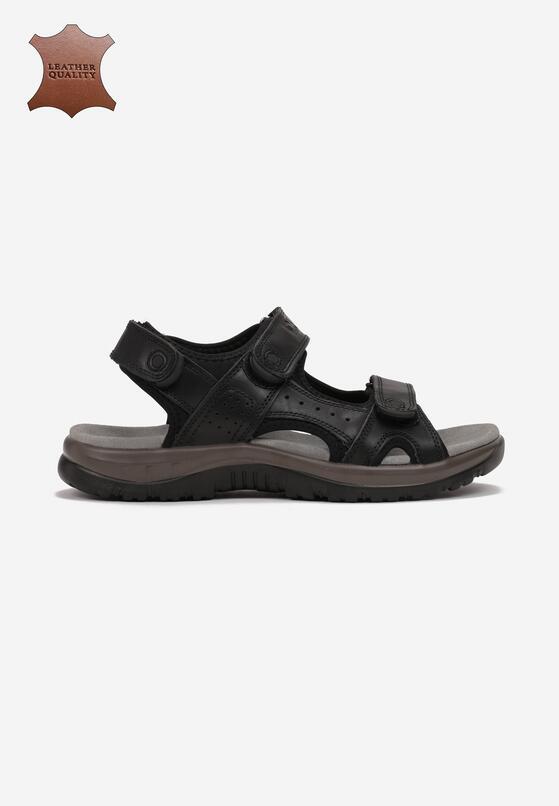 Czarne Skórzane Sandały Evarephis