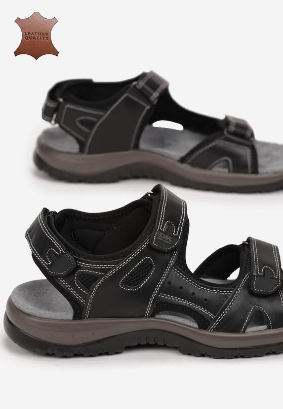 Czarne Skórzane Sandały Larimine