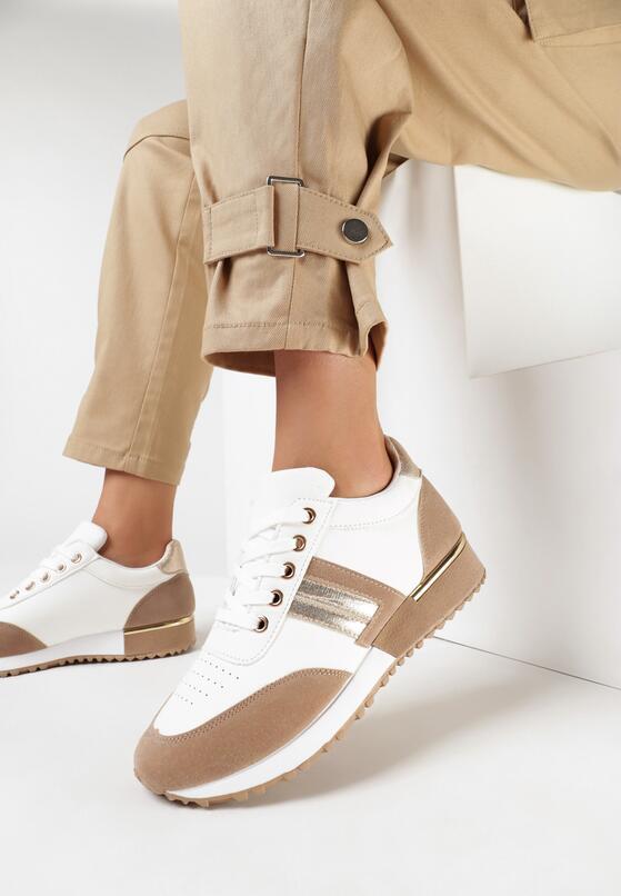 Biało-Beżowe Buty Sportowe Thalasura